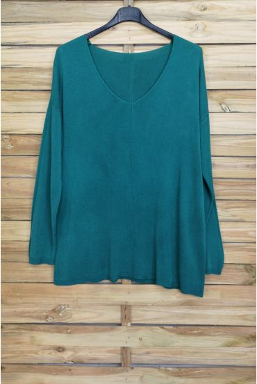 PULL THE END OF OVERSIZE V-NECK 4011 BLUE LAGOON