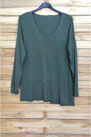 PULL THE END OF OVERSIZE V-NECK 4011 MILITARY GREEN