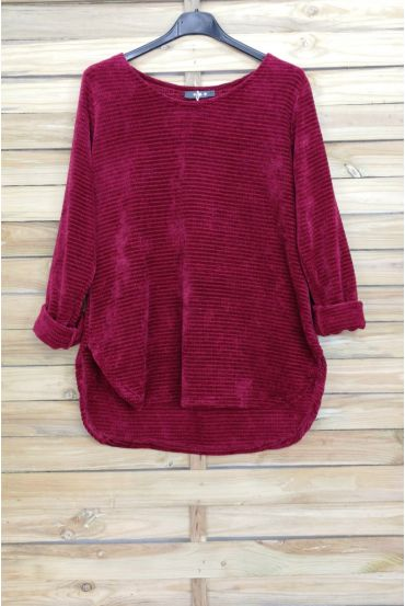 PULLOVER VELOURS 4005 BORDEAUX