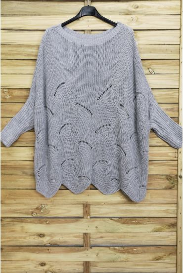 PULLOVER OVERSIZE AJOURE 4008 GRAY