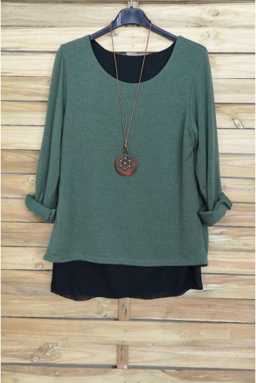 SWEATER OPEN BACK BI-MATTER + NECKLACE OFFERED 4029 MILITARY GREEN