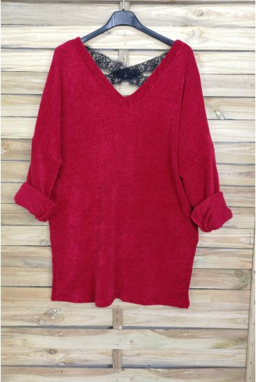 A SWEATER-SOFT, OVERSIZE BACK LACE CROSS-4044 M RED
