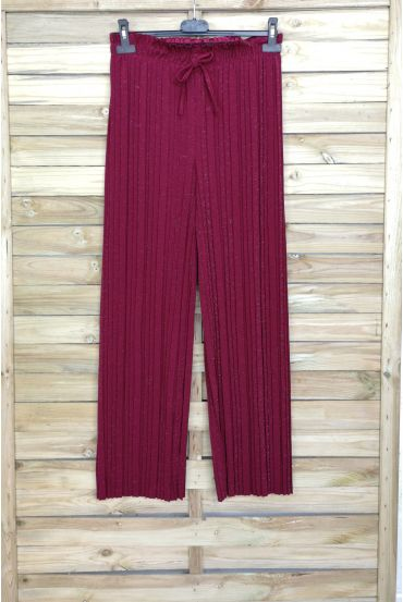 PANTALONI A PIEGHE IN LUREX 4048 BORDEAUX