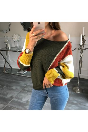 SWEATER, BATWING SLEEVES, COLORE 4084 MILITARY GREEN