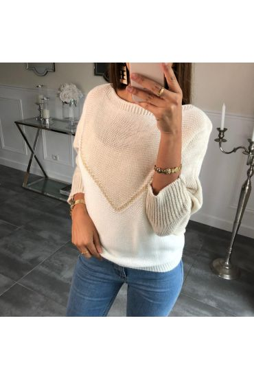 SWEATER, BATWING SLEEVES, COLORS 4085 BEIGE