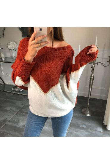 SWEATER, BATWING SLEEVES, COLORS 4085 BRICK