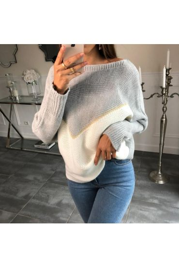 SWEATER, BATWING SLEEVES, COLORS 4085 GRAY