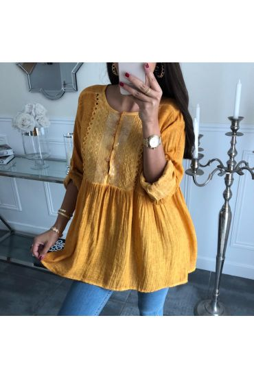 TUNIC SEQUINED COTTON 4006 MUSTARD