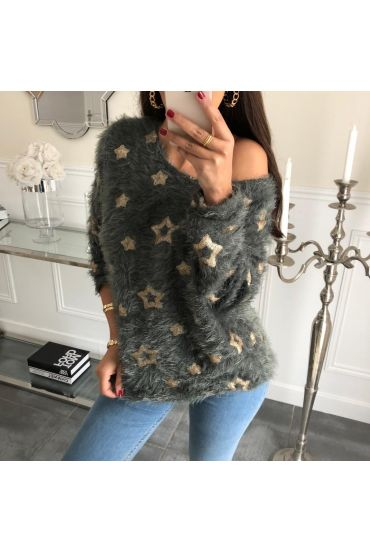 SWEATER STAR SEQUIN SOFT 4050 MILITARY GREEN