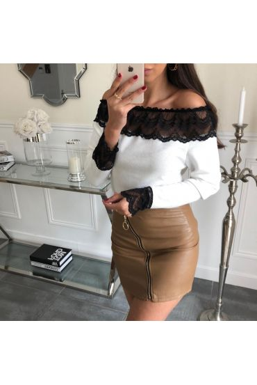 LOT 3 SKIRTS LEATHER-EFFECT S-M-L 4049 CAMEL