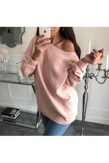 PULLOVER 2 POCHES 3062 ROSE