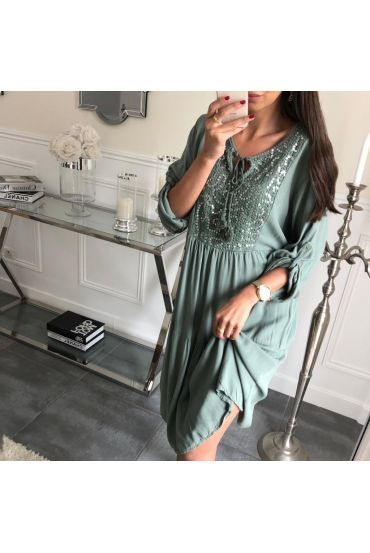 DRESS PAILLETEE 3081 MILITARY GREEN