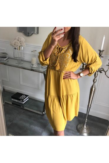 DRESS PAILLETEE 3081 MUSTARD