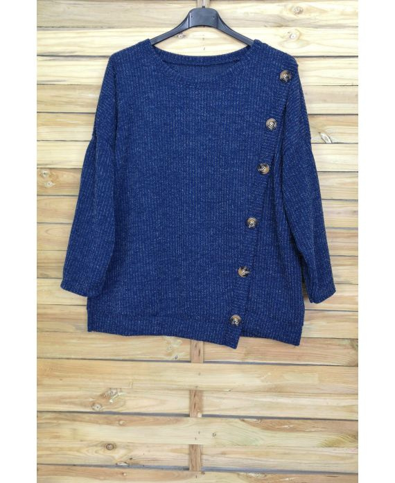 LARGE SIZE SWEATER HAS BUTTONS 5007 NAVY BLUE