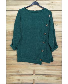 LARGE SIZE SWEATER HAS BUTTONS 5007 GREEN