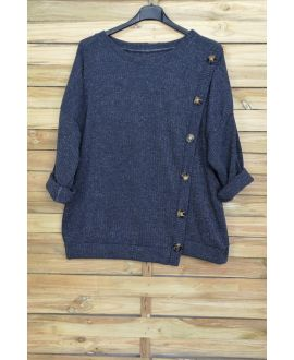 LARGE SIZE SWEATER HAS BUTTONS 5007 GREY