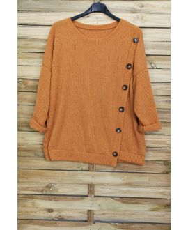 LARGE SIZE SWEATER HAS BUTTONS 5007 MUSTARD