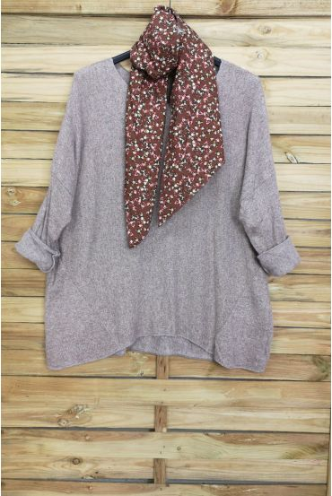 LARGE SIZE SWEATER SOFT + SCARF MATCHING 5006 TAUPE