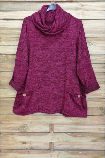 LARGE COLLAR SWEATER FALLING 2 POCKETS 4094 BORDEAUX