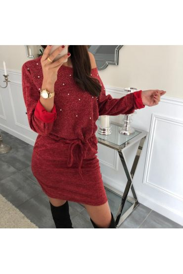 ROBE PERLES CLOUTEE 4061 BORDEAUX