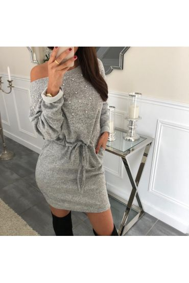ROBE PERLES CLOUTEE 4061 GRIS