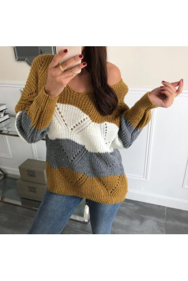 PULLOVER AJOURE 3065 MOUTARDE