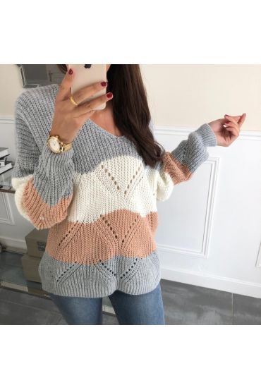 PULLOVER AJOURE 3065 GRIS