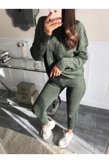 ALL MESH SWEATER + MATCHING PANTS 5001 MILITARY GREEN