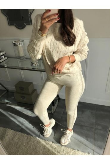 ALL MESH SWEATER + MATCHING PANTS 5001 BEIGE