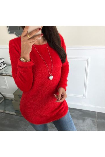 SWEATER HAS SOFT BRISTLES + NECKLACE 5024 RED