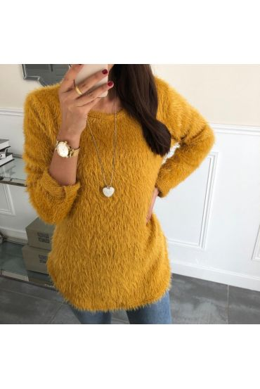 SWEATER HAS SOFT BRISTLES + NECKLACE 5024 MUSTARD