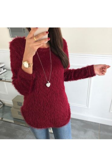 SWEATER HAS SOFT BRISTLES + NECKLACE 5024 BORDEAUX