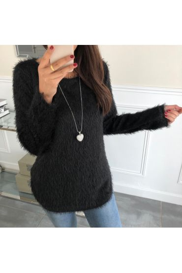 SWEATER HAS SOFT BRISTLES + NECKLACE 5024 BLACK