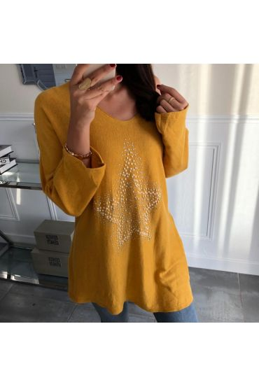 PULL DOUX ETOILE STRASS ET PERLES 5035 MOUTARDE