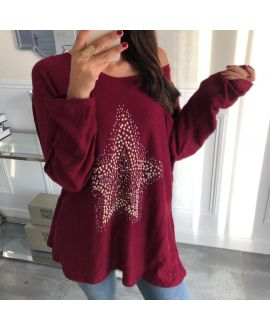 PULL SOFT STAR RHINESTONES AND PEARLS 5035 BORDEAUX