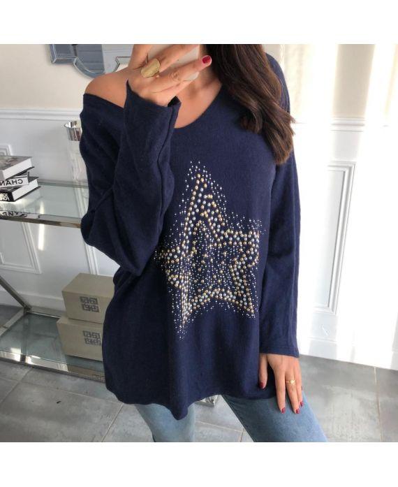 PULL SOFT STAR RHINESTONES AND PEARLS 5035 NAVY BLUE