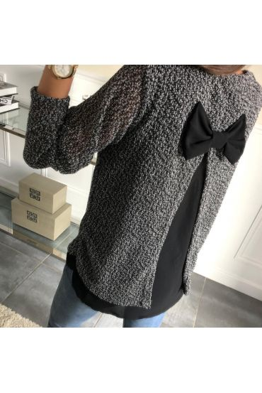 SWEATER TUNIC EFFECT CHINA DOS CLOAKING NODE 5031 BLACK