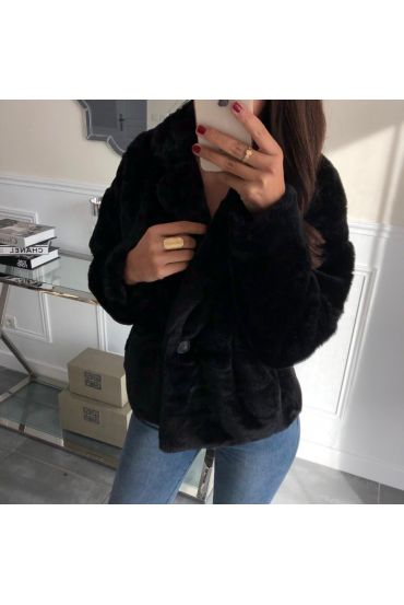 COAT FUR SYNTHETIC 5033 BLACK
