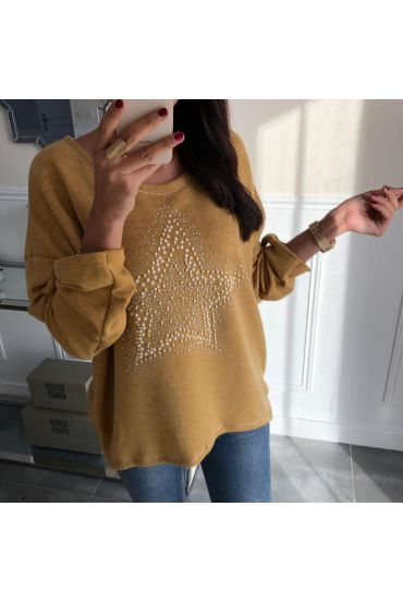 PULL ETOILE STRASS ET PERLES 5034 MOUTARDE