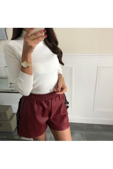 SHORTS LEATHER EFFECT FRINGES HAS RHINESTONES 4042 BORDEAUX