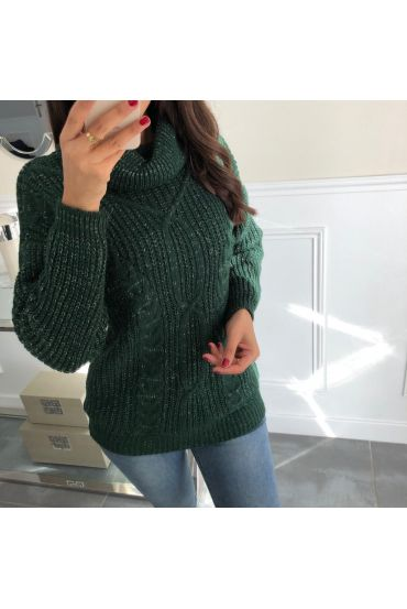 PULL COL ROULE LUREX TWIST 5057 MILITARY GREEN