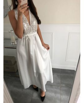 LONG DRESS SATINEE HAS SEQUINS 5092 WHITE