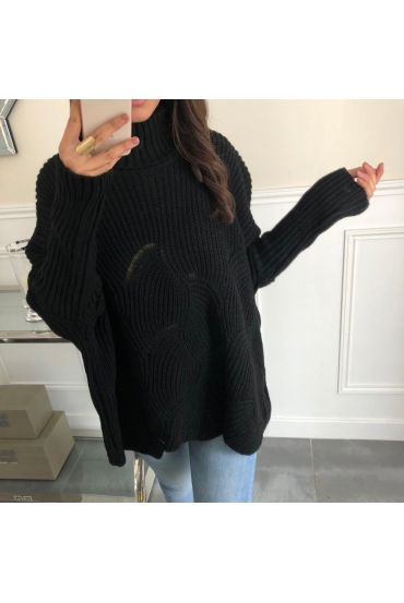 PULLOVER COL ROULE OVERSIZE-AJOURE 5096 SCHWARZ