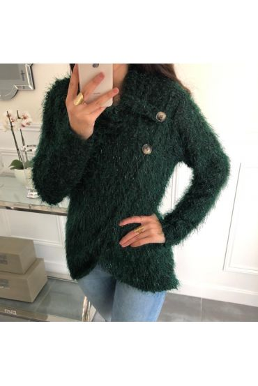 SWEATER HAS SOFT BRISTLES DRAPES HAS BUTTONS 5083 GREEN