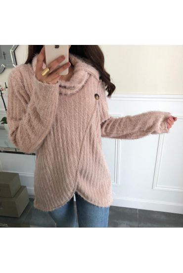 SWEATER HAS SOFT BRISTLES DRAPES HAS BUTTONS 5083 BEIGE