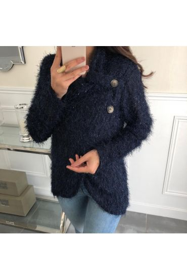 SWEATER HAS SOFT BRISTLES DRAPES HAS BUTTONS 5083 NAVY BLUE