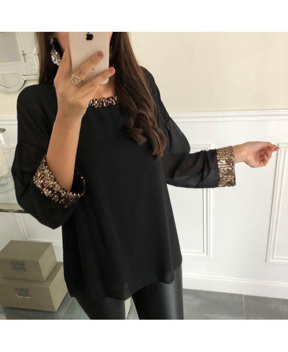 TOP SEQUINED DETAIL 5069 BLACK