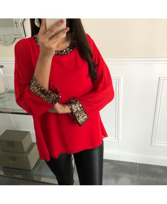 TOP SEQUINED DETAIL 5069 RED