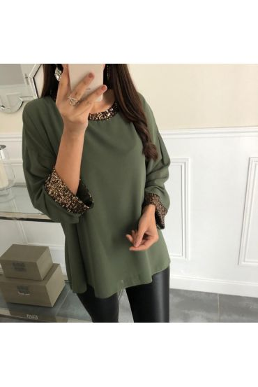 TOP SEQUINED DETAIL 5069 MILITARY GREEN