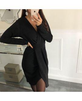 EVENING DRESS DRAPEE TISSUE EFFECT GLOSS 5082 BLACK